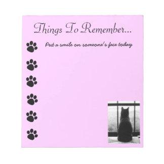 Black Cat  Paw  Print Note Pad