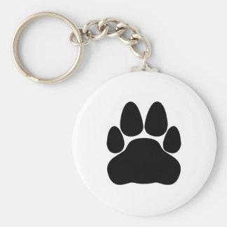 Black Cat Paw Print Shape Basic Round Button Keychain