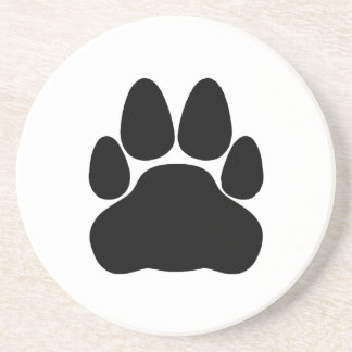 Black Cat Paw Print Shape Drink Coasters