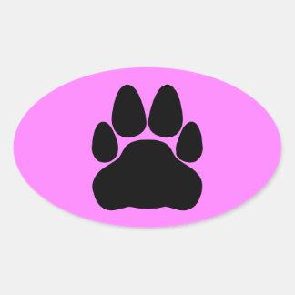 Black Cat Paw Print Shape Oval Sticker