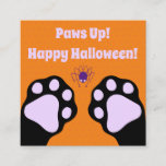 Black Cat Paws Up Classroom Halloween Square Business Card