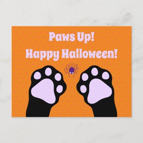 Black Cat Paws Up Halloween Postcard