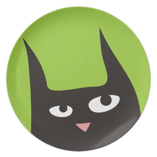 Black Cat Peeking Dinner Plate