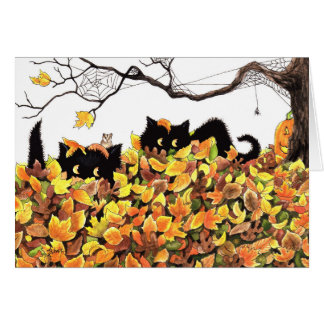 Black Cat Peeking in to wish you a Happy Halloween Card