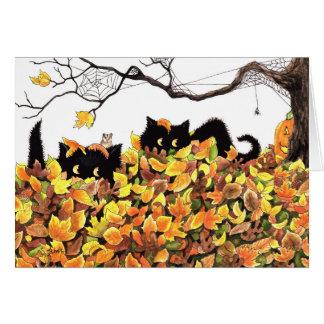 Black Cat Peeking in to wish you a Happy Halloween Greeting Card