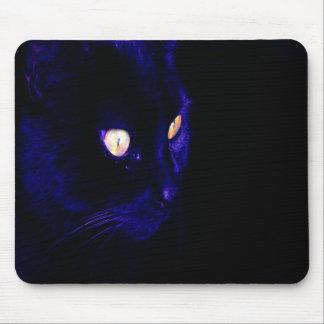 Black Cat Photograph, Halloween Eyes Mouse Pad