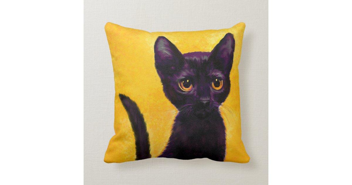 Black Cat Pillow Zazzle Com