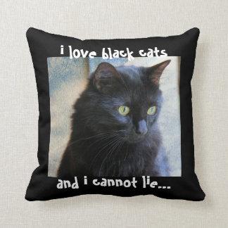 Black Cat Pillow: i love black cats & i cannot lie Throw Pillow