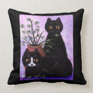 Black Cat Pillow Tuxedo Creationarts