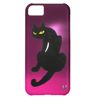 BLACK CAT pink Cover For iPhone 5C
