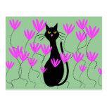 Black Cat Pink Flowers Cards