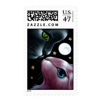 BLACK CAT & PINK RABBIT Postage
