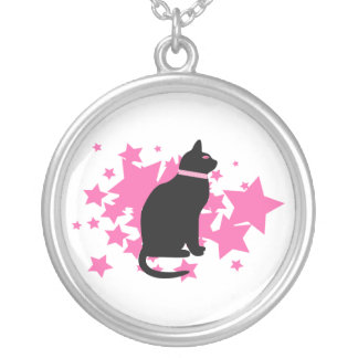 Black cat, pink stars on white design round pendant necklace