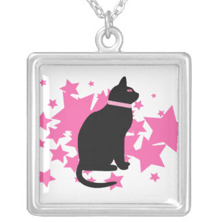 Black cat, pink stars on white design square pendant necklace