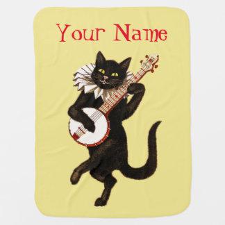Black Cat Playing Banjo Swaddle Blanket