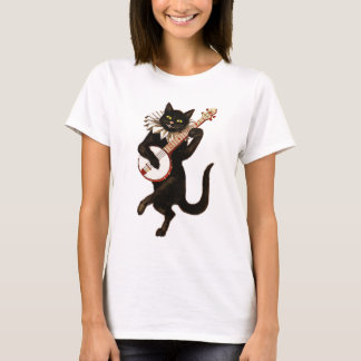 Black Cat Playing Banjo T-Shirt