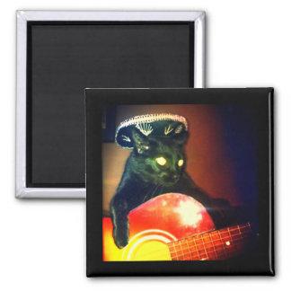 black cat playing guitar magnet