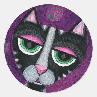 Black Cat & POlka Dots - feline stickers