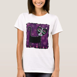 Black Cat & Polka Dots - ladies t-shirt
