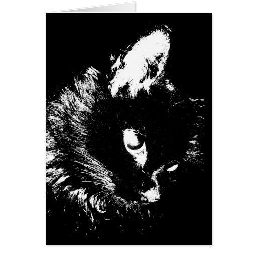 Black Cat Pop Art Greeting Card