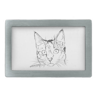 Black Cat Portrait Sketch Belt Buckle