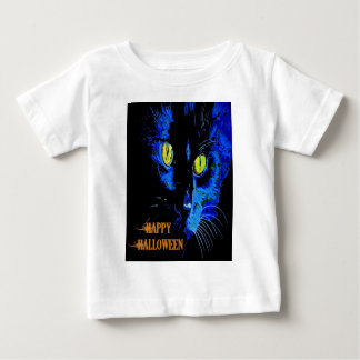 Black Cat Portrait with Happy Halloween Greeting Baby T-Shirt