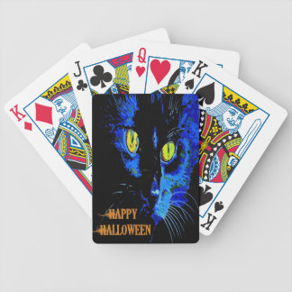 Black Cat Portrait with Happy Halloween Greeting Bicycle Playing Cards