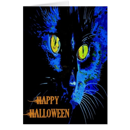 Black Cat Portrait with Happy Halloween Greeting Card