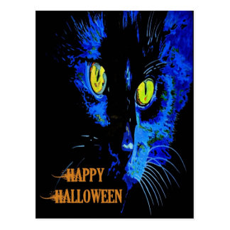 Black Cat Portrait with Happy Halloween Greeting Postcard