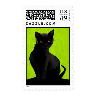 Black Cat Postage Stamp