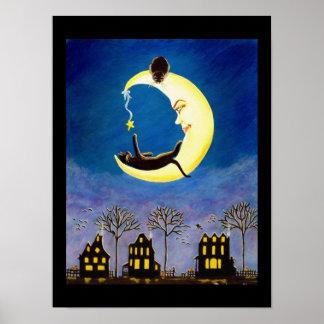 Black ,cat,poster,nursery,baby,moon,star poster