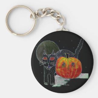 black cat pumpkin and moon basic round button keychain