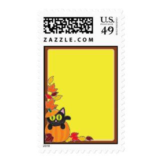 Black Cat Pumpkin Border Postage Stamps