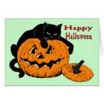 Black Cat Pumpkin Card