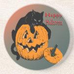 Black Cat Pumpkin Coaster