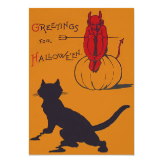Black Cat Pumpkin Devil Demon Pitchfork 5x7 Paper Invitation Card