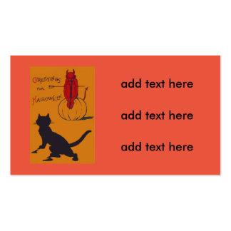 Black Cat Pumpkin Devil Demon Pitchfork Business Card