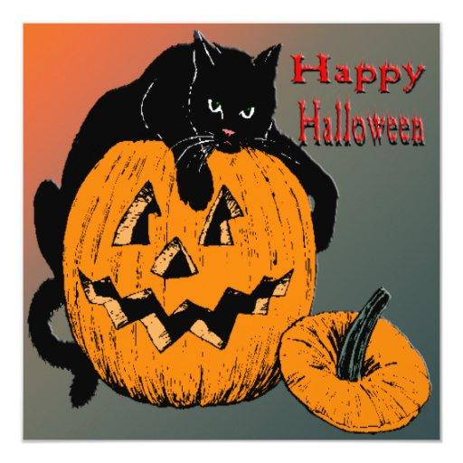 Black Cat Pumpkin Halloween Invitation