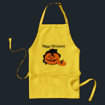 "Black Cat Pumpkin Happy Halloween Apron<br><div class=""desc"">This holiday apron celebrates Halloween with a design featuring a black cat lounging on top of a bright orange jack o lantern pumpkin. Apron has text that says Happy Halloween. Celebrate Halloween this year and cook for all your family and friends with this Black Cat Pumpkin Happy Halloween apron.</div>"