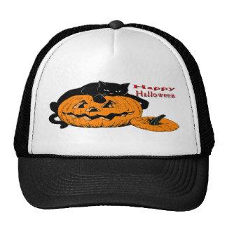 Black Cat Pumpkin Trucker Hat