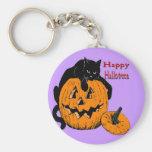Black Cat Pumpkin Keychains