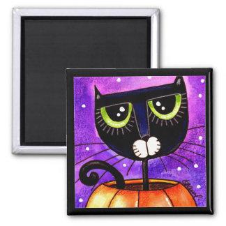 Black Cat & Pumpkin - Magnet