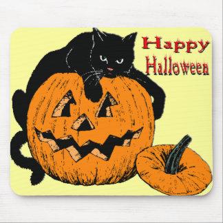Black Cat Pumpkin Mouse Pad