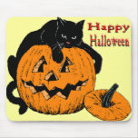 Black Cat Pumpkin Mouse Pads