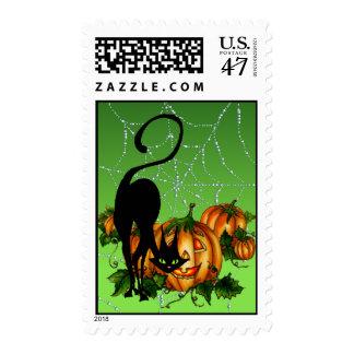 BLACK CAT PUMPKIN PATCH by SHARON SHARPE Postage Stamp