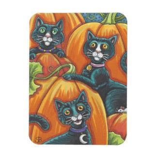 Black Cat Pumpkin Patch Halloween Magnet Holiday