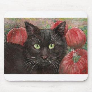 Black Cat Pumpkin Patch Mouse Pad