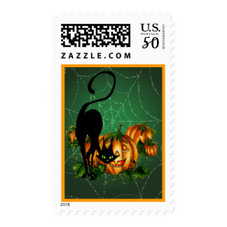 BLACK CAT PUMPKIN PATCH & WEB by SHARON SHARPE Postage