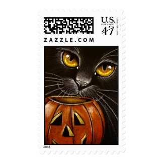 Black Cat & Pumpkin Postage