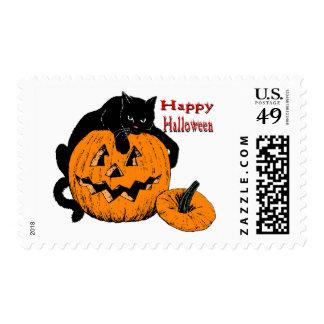 Black Cat Pumpkin Stamp